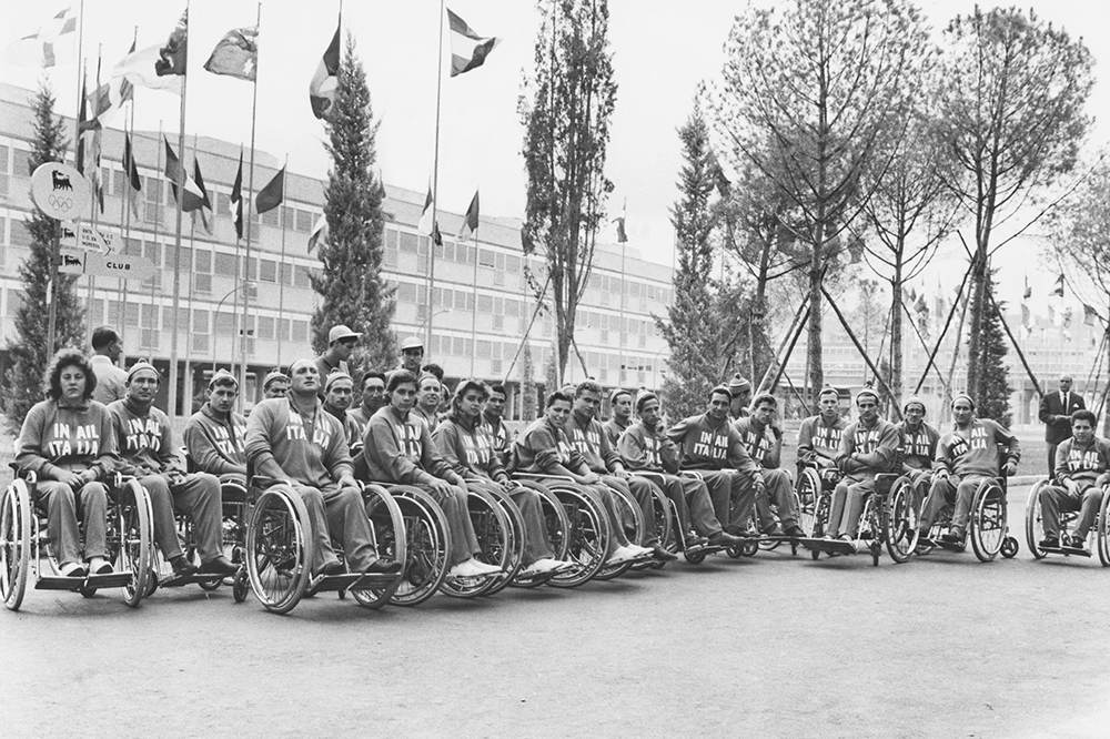 The Italian team at the Olympic village before the start of the first international Paralympic Games, Rome, 16th September 1960. The games were known at the time as the 9th Annual International Stoke Mandeville Games and were open only to athletes with spinal cord injury. (Photo by Keystone/Hulton Archive/Getty Images)